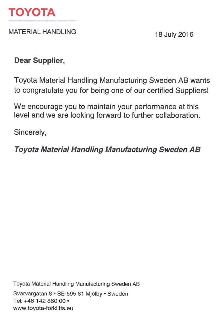 Toyota certifikat
